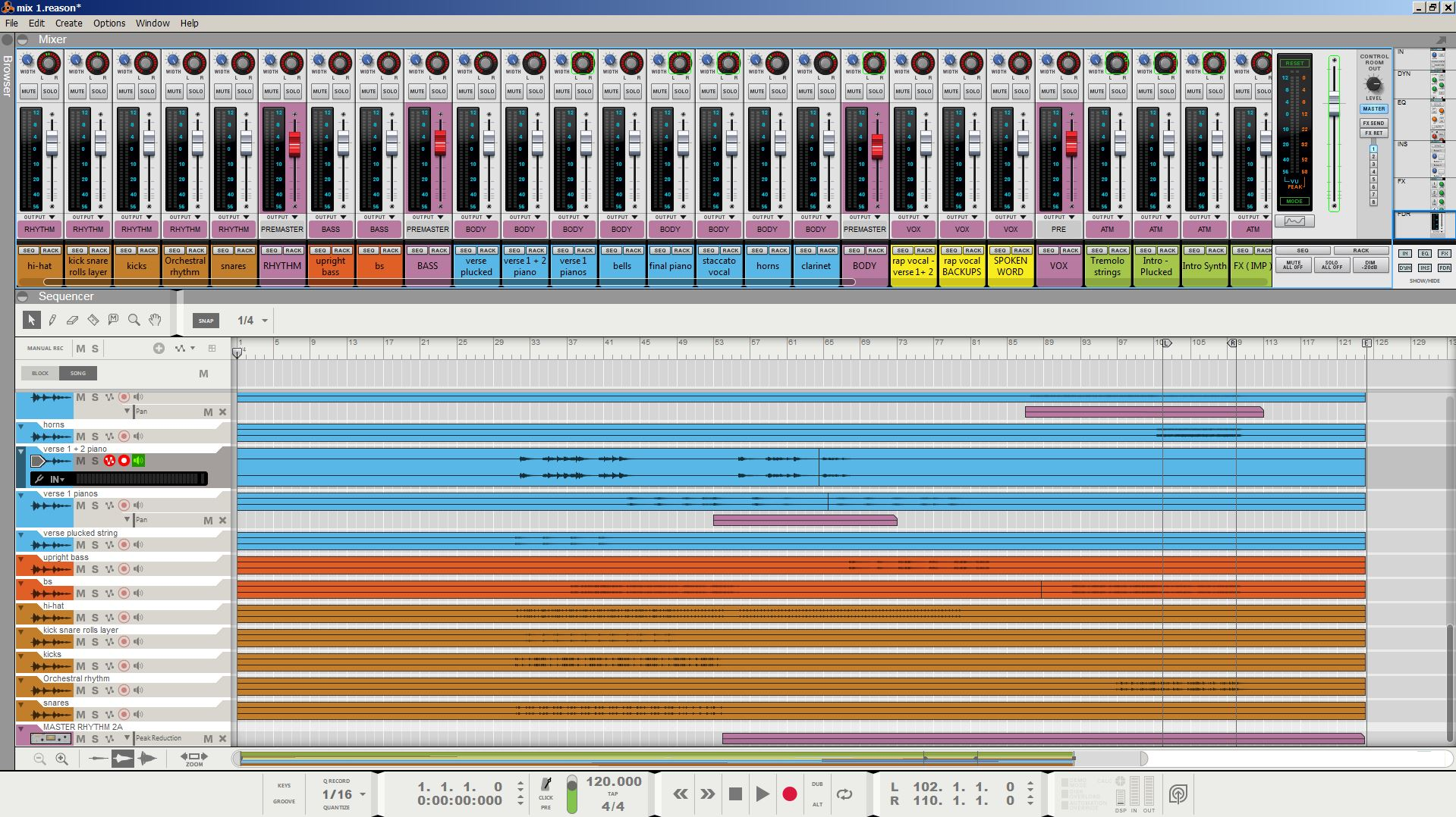Grouped/bussed and color-coded mixing session