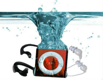 Underwater Audio Mega-Red Waterproof iPod with Headphones - In-Ear Headphones